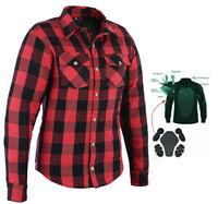 Women's Motorcycle Kevlar® LIned Flannel Lumberjack Shirt Red Black Flanny