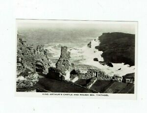 CORNISH POSTCARD REAL PHOTO  KING ARTHUR`S CASTLE AND ROUGH SEA, TINTAGEL.