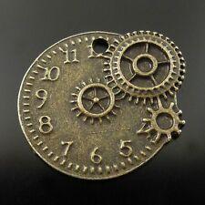 36247 Antique Bronze Tone Vintage Alloy Mechanical Gear Clock Pendant Charm 36pc