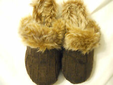 UnionBay Clog Shoes Girls Size 1 M Slide-On Mule Faux Fur Brown Children