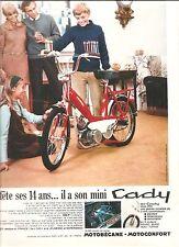 PUBLICITE MOTOBECANE MOTOCONFORT Il fête ses 14 ans Il a son mini Cady / 1969