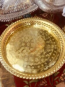 Moroccan Golden Handmade Tea Tray Engraved Arabic Pattern Design 11""