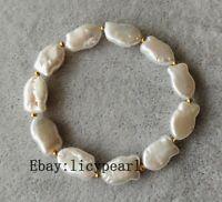 Barocke Perle Armband, Charm weiß Süßwasser perle Stretch-Armband