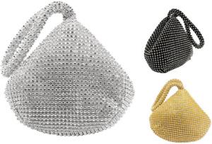 New Women's Crystal Diamante Clutch Evening Bag Party Prom Wedding Handbag Pouch