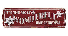 It's the Most Wonderful Time of the Year Red Wooden Sign Christmas Winter