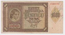 1000 kuna 1941 Croatian banknotes Ante Pavelić Germany Italy Hrvatska NDH WWII !