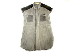 BiBA Long Bluse transparent knielang 42 ohne Arm Sommer grau schlamm leicht #30