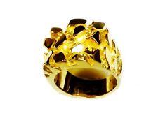 Ouro AMARELO SÓLIDO 18kt Men's Fashion Nugget design Anel 36 Gramas 25MM