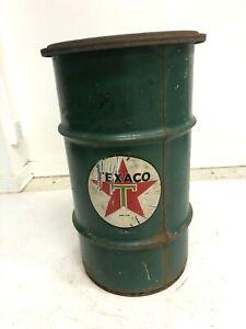 Vintage TEXACO OIL BARREL w Lid advertising metal trash garbage can waste green