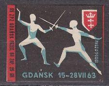 POLAND 1963 Matchbox Label - Cat.Z#418 IV, World Championship in Fencing Gdansk