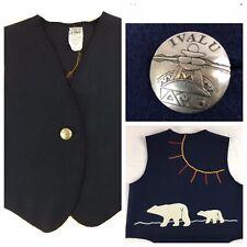 Ivalu M Vest Blue Wool w Polar Bear Applique Trim Canada Wearable Art (1208)