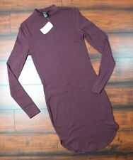 Forever 21 Long Sleeve Purple Bodycon Stretch Women Sexy Dress size Small NWT