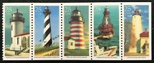 1990 Scott #2470-2474 - 25¢ - LIGHTHOUSES - Booklet Strip of 5 Stamps - Mint NH
