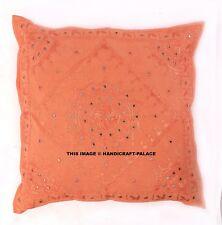 "Orange Mirror Embroidered Decorative Cushion Cover Boho Indian Pillow Throw 24"""