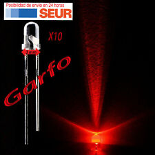 10X Diodo LED 3 mm Rojo 2 Pin alta luminosidad