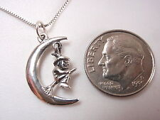 Witch on Broom in Crescent Moon Necklace 925 Sterling Silver Corona Sun Jewelry