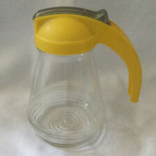 Vintage Syrup Dispenser Yellow Top w/Metal Retractable Pour Cover