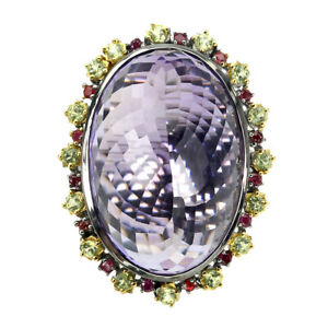 Handmade Oval Purple Amethyst 40ct Sapphire 925 Sterling Silver Ring Size 8.5