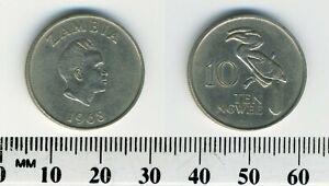 Zambia 1968 - 10 Ngwee Copper-Nickel-Zinc Coin - K.D. Kaunda - Crowned Hornbill