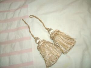 Cream  Silvery Gold Tie back TASSELS  5 inches x 2