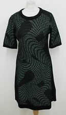 MISSONI Ladies Black Green Metallic Short Sleeve Knitted Dress IT42 UK10