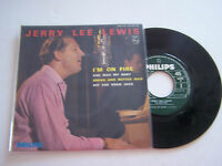 EP 4 TITRES VINYL 45 T , JERRY LEE LEWIS , I ' M ON FIRE . EX / VG + . PHILIPS .