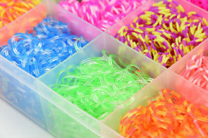 DIY Rubber Loom Bands Kit 1800 Box Friendship Rainbow Bracelet Maker Making New