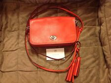 Coach Coral Red Leather Legacy Penny Crossbody Should Bag Purse PERFCT FREE SHIP