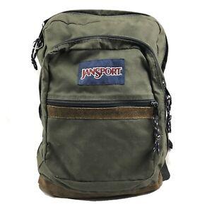 Jansport Olive Brown Canvas Leather Bottom School Backpack Book Bag