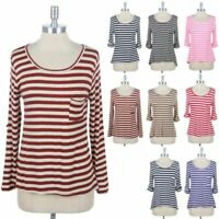 Womens Striped Basic Roll Up Sleeve High Low Hem Top Casual Round Neck S M L
