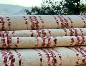 Grain Sack Fabric, Red and Beige Ticking Fabric, Feed Sack, Grainsack Fabric