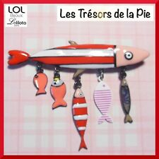 Broche LOL BIJOUX - Famille de 6 sardines & poissons - Rouge - LOLILOTA