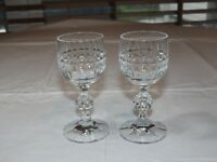 "Crystal Sherry Glass Cordial shot Liquor 4 1/4"" tall **set of 2** glasses ~"