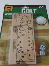 Golf Dice Peg Travel Game 2 Players Kids and Adults Wooden Board