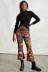 Anthropologie Farm Rio Fernanda Flared Pull Pants,trouser On Black Motif Size XL