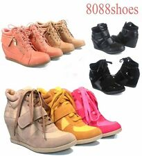 Women's Fashion Lace Up High Top Ankle Wedge Heels Sneaker Boots Shoes Size 6-10