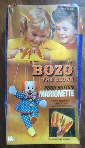 Vintage 1972 Knickerbocker Bozo the Clown Push Button Marionette MIB Sealed RARE
