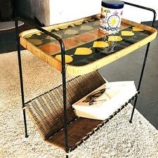 """50er 60"""" Beistelltisch Magazine Table Basket Korbgeflecht Rockabilly String Ära"""