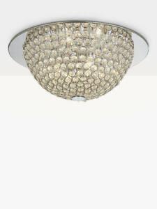 "Moon Semi Flush Ceiling Light, Silver/Clear"""