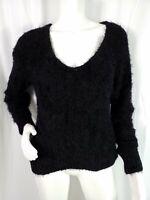 BP Sweater Size Medium Black Pullover Fuzzy Vneck Long Sleeve Stretch