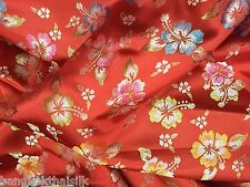 RED FLORAL SHANTUNG FAUX SILK BROCADE FABRIC BTY BLOUSE DRESS ORIENTAL