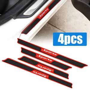 4XCar Accessories Rubber Door Sill Scuff Plate Protector Sticker Guard Threshold