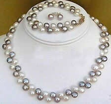 2 rows Black White pearl necklace bracelet earring