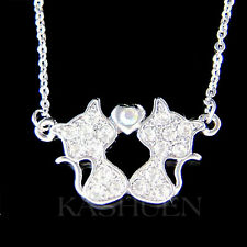 ~Cat Lover~ made with Swarovski Crystal Kitten Kitty Love Heart Necklace Jewelry