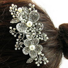 USA Hair Comb vintage Crystal Handmade Bridal wedding prom pearl pin silver 17