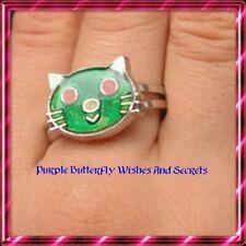 Cat Kitty Kitten Mood Ring, Silvertone Adjustable Emotion Feeling x 1pc