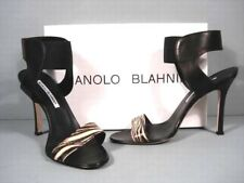 Manolo Blahnik 38/7.5 Pepe Zebra Black Leather Ankle Strap Sandals Discount Sale