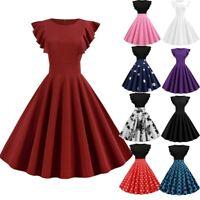Women Fashion Solid Ruffle Sleeve Dress Round Neck Zipper Hepburn Party Dress AU