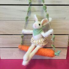 Wool Easter Bunny On A Swing Carrot Decoration Gisela Graham Felt Rabbit Hanging