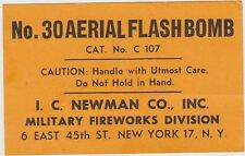 I.C. Newman New York No.30 Aerial Flashbomb Fireworks Label